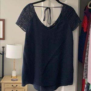 Massimo Dutti Navy silk and lace blouse - size 8